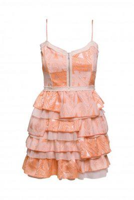 Vestido Paisley volantes naranja