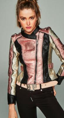 Cinturón hebilla piel rosa