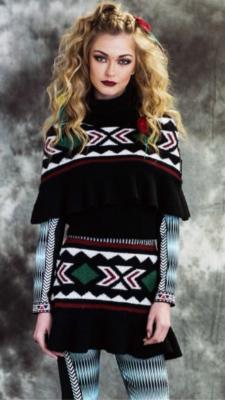 Capa tricot greca negro