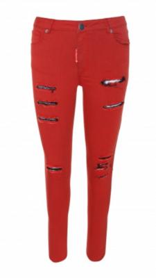 Pantalon 5 bolsillos rotos rojo