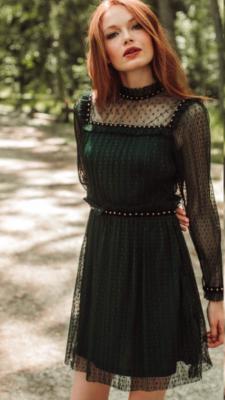 Vestido tul plisado verde