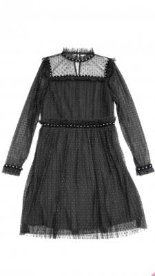 Vestido tul plisado negro
