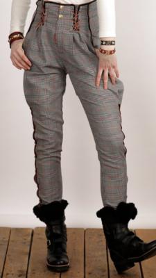 Pantalon amazona cuadros gris