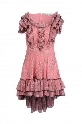Vestido encaje ramitos rosa
