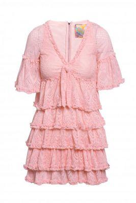 Vestido encaje volantes rosa