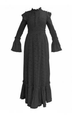 Vestido largo encaje bolas negro