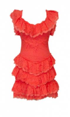Vestido puntillas coral