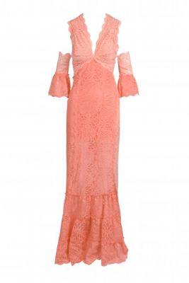 Vestido puntillas largo coral